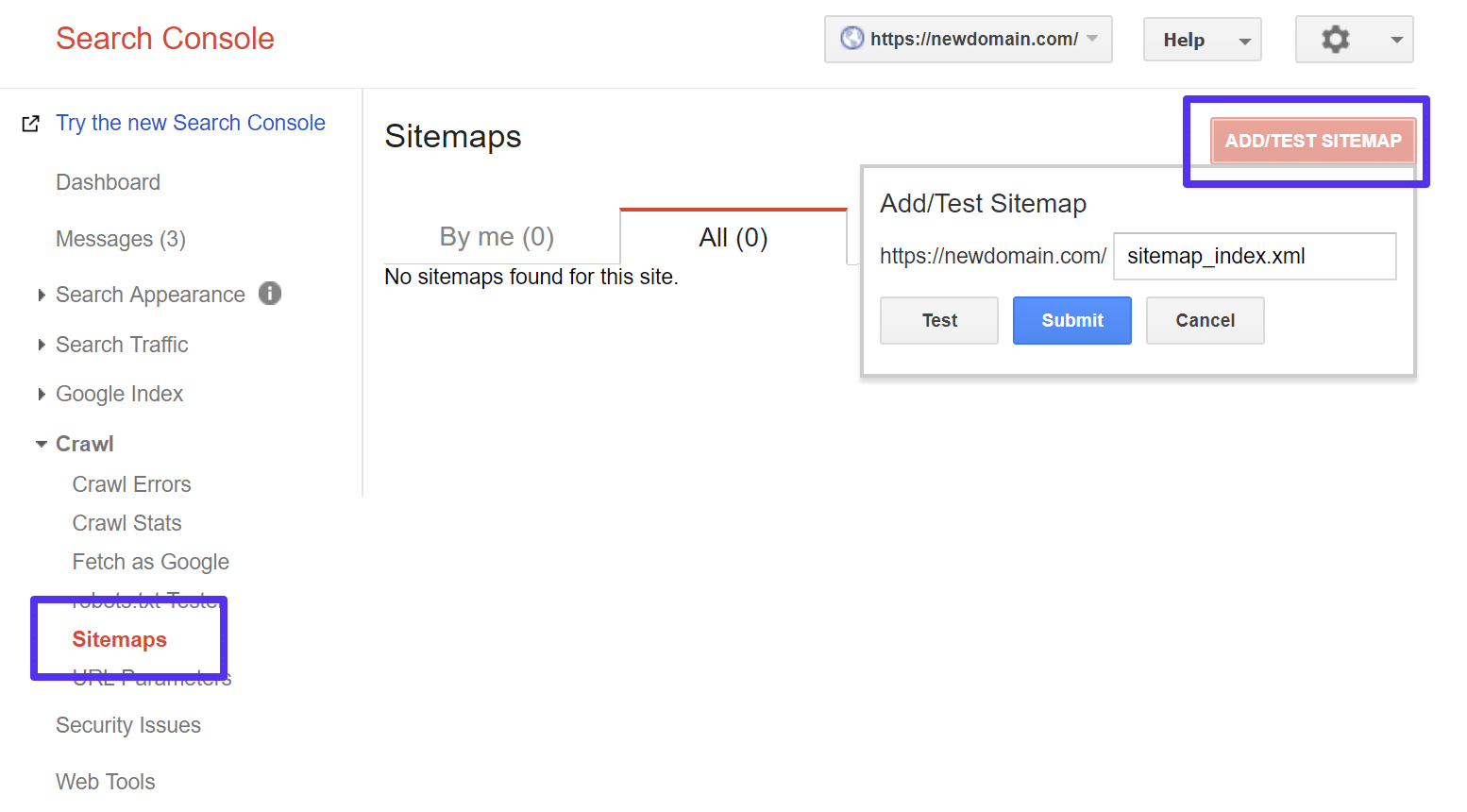 Submit sitemap file in Google Search Console
