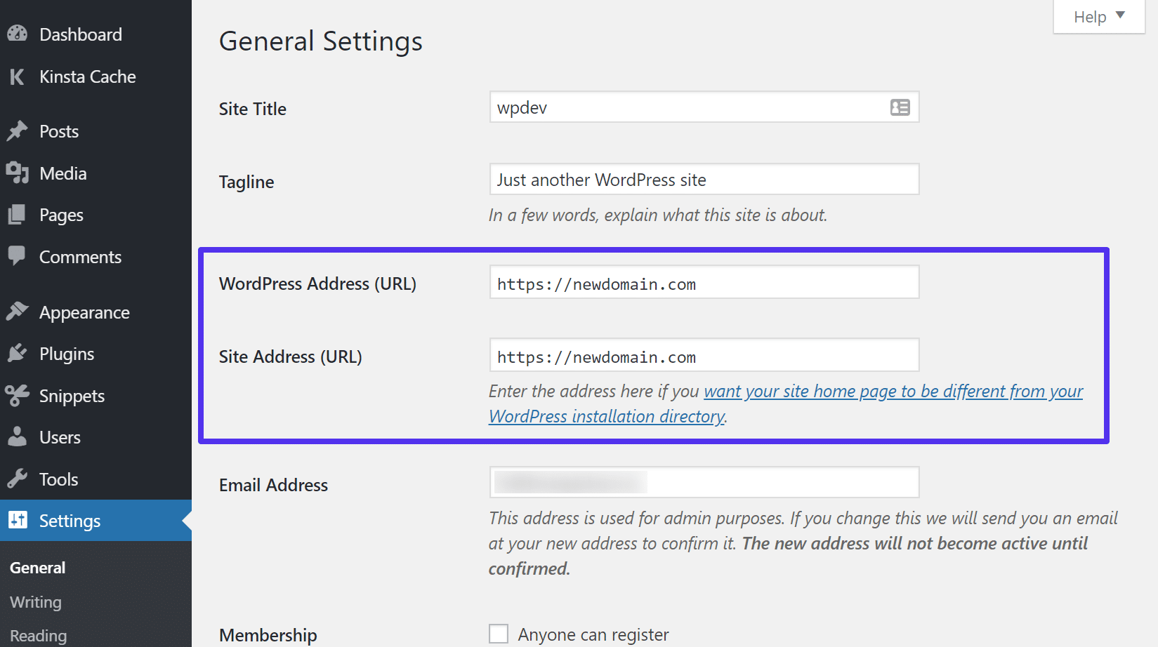 Update WordPress address and site URL