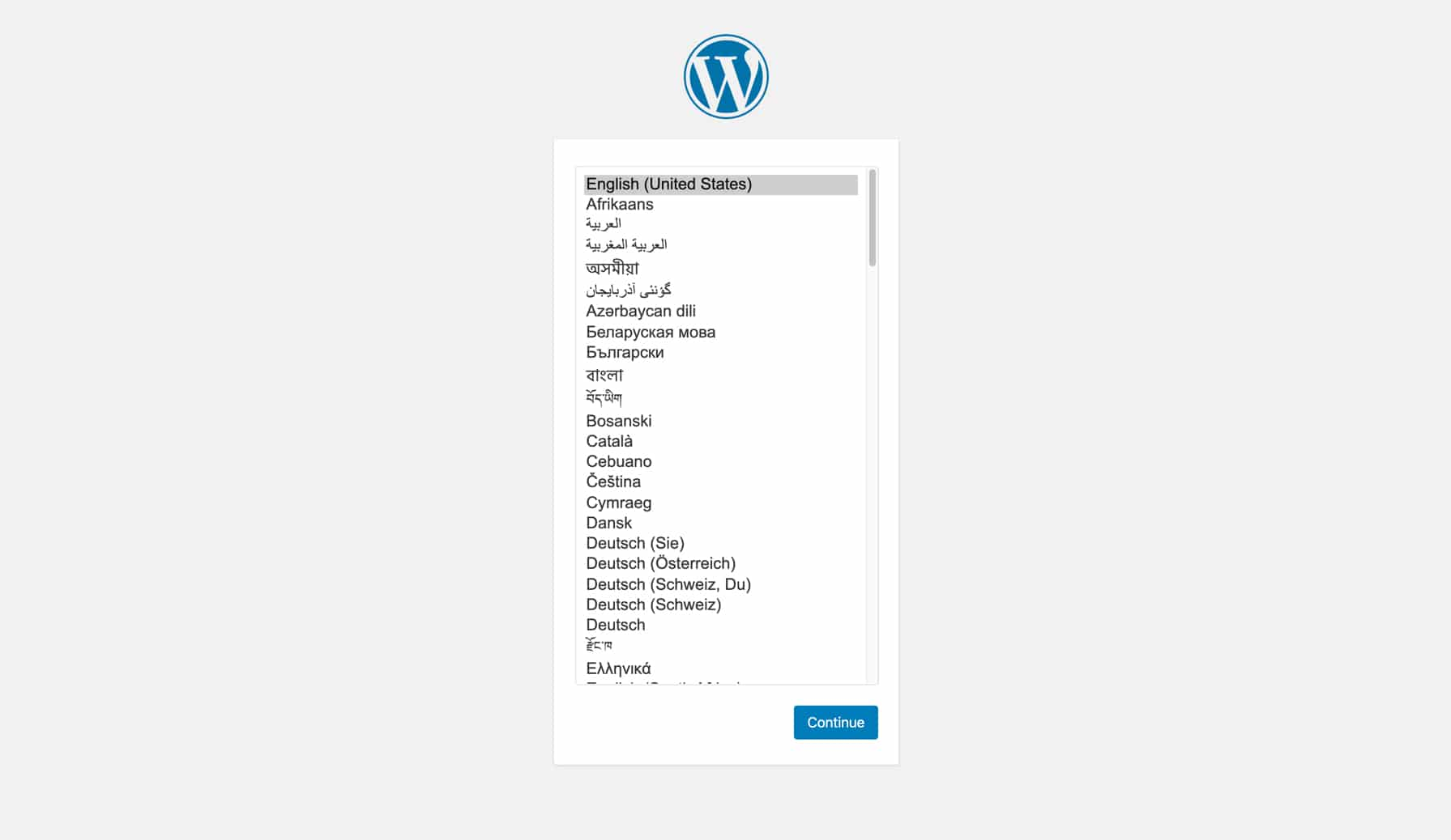 Configure the new installation of WordPress.