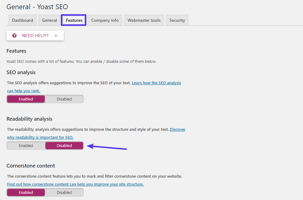 Вкладка Yoast SEO features