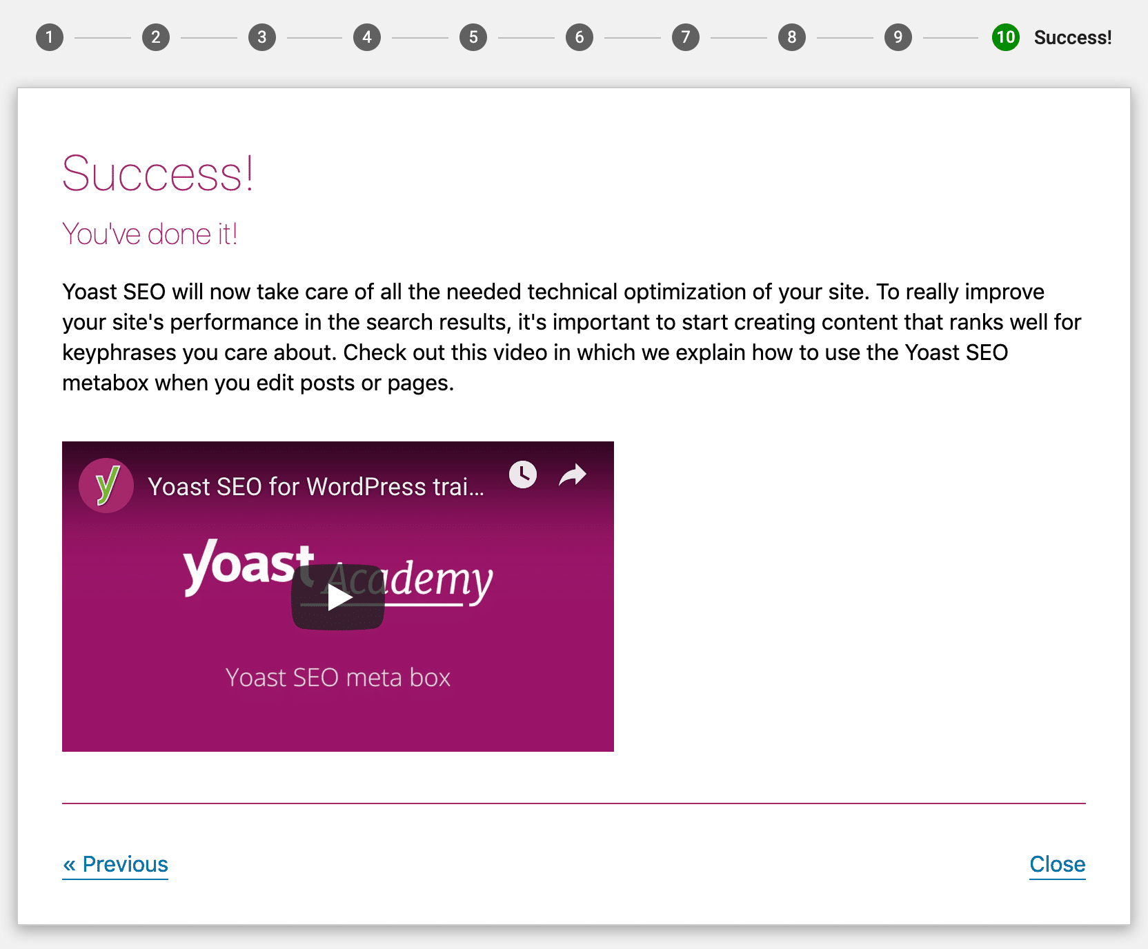 Yoast SEO success