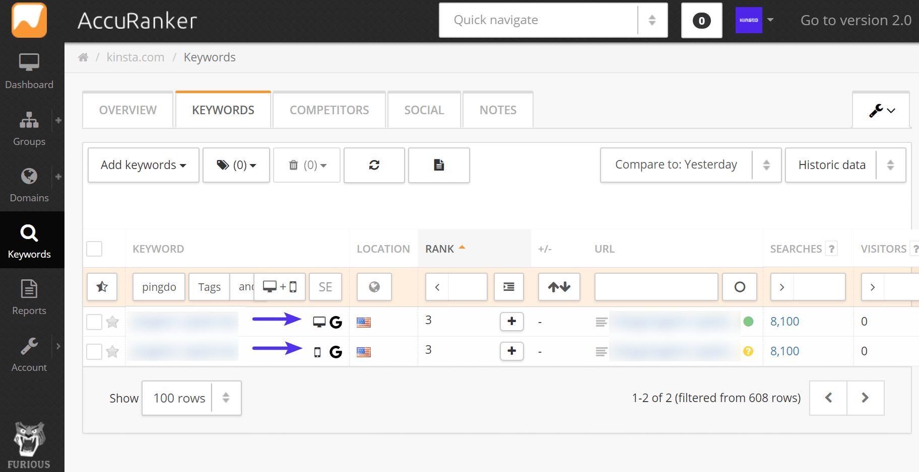 Accuranker compare mobile vs desktop rankings
