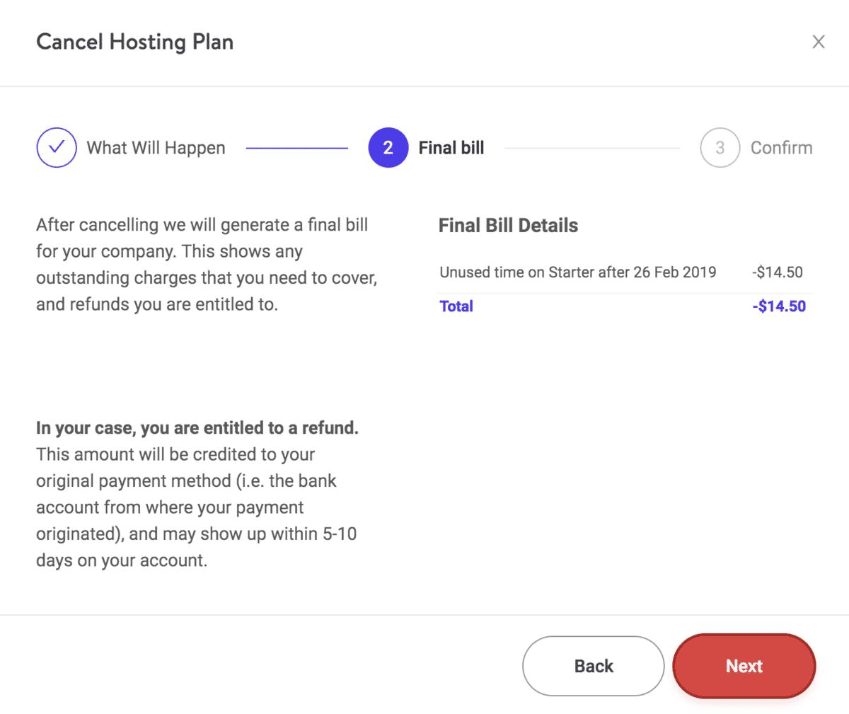Detalles de la factura final al cancelar el plan Kinsta