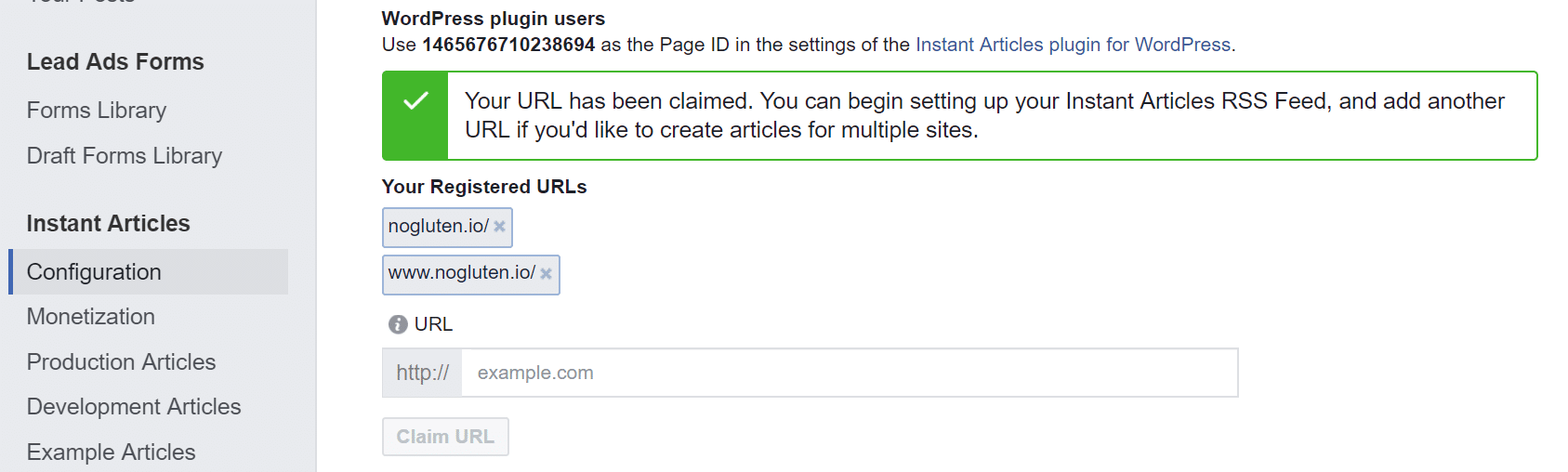 Claimed Facebook Instant Articles URL