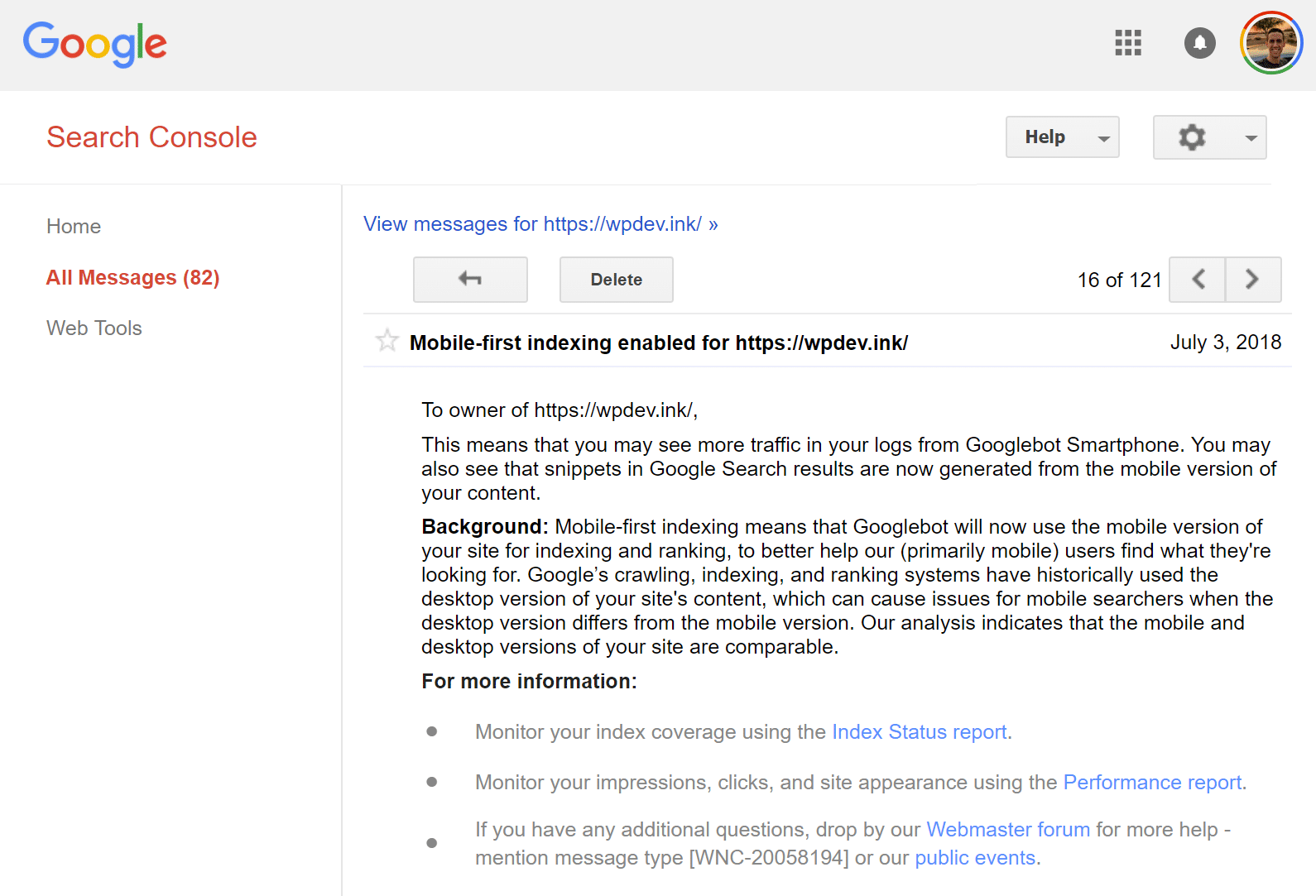 Mobile-first indexing enabled email from Google