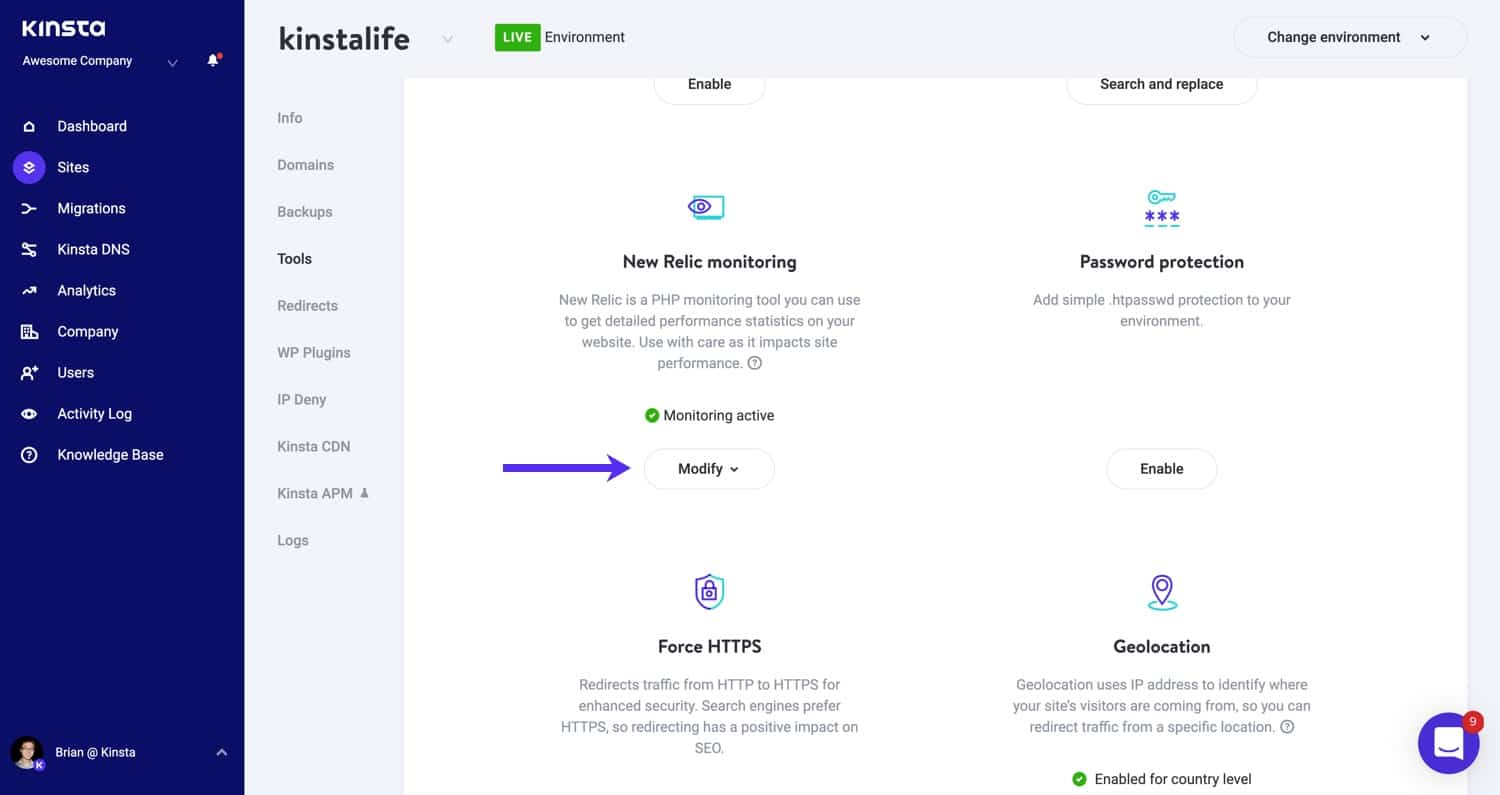Enable New Relic monitoring in MyKinsta.