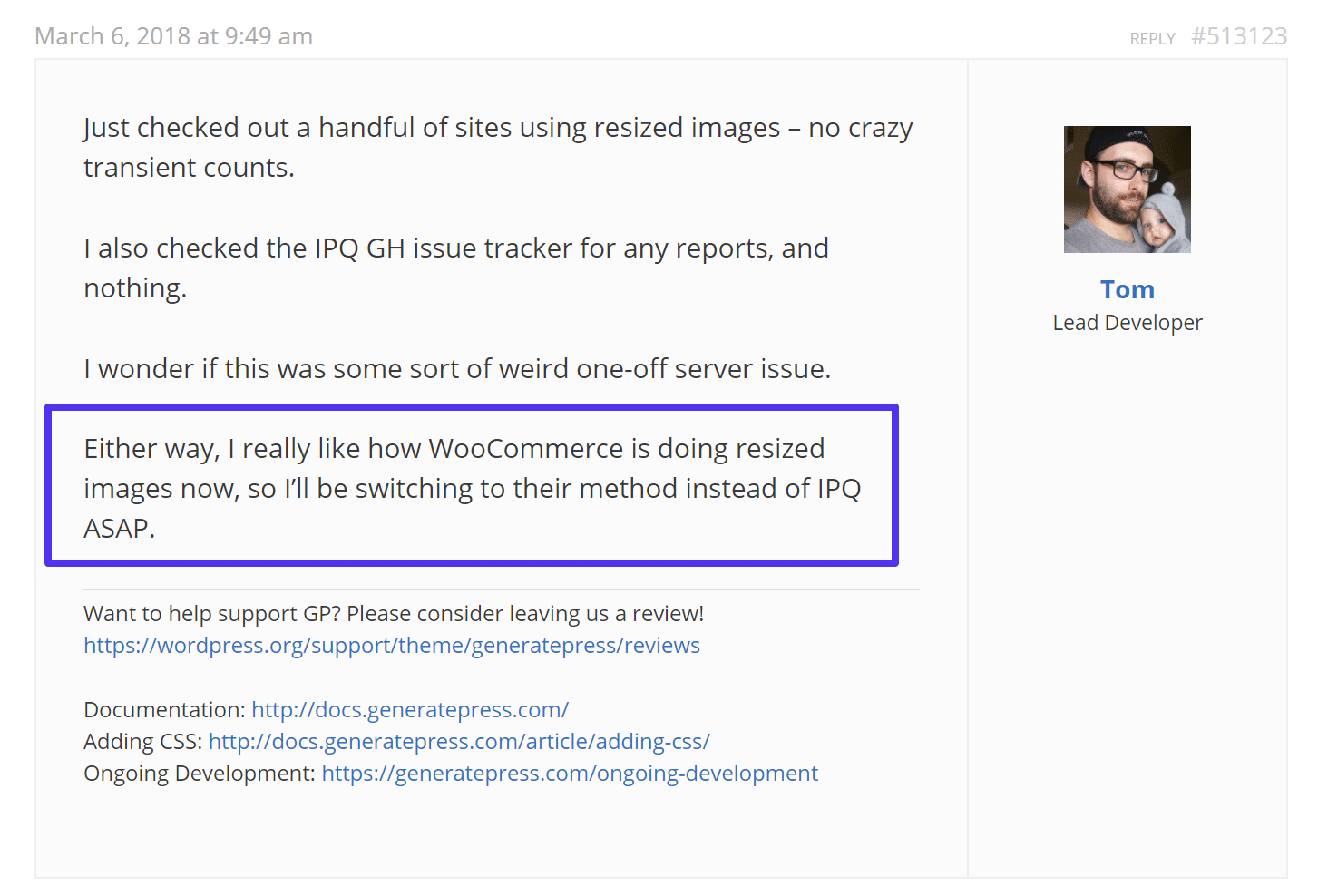 Response from WordPress developer