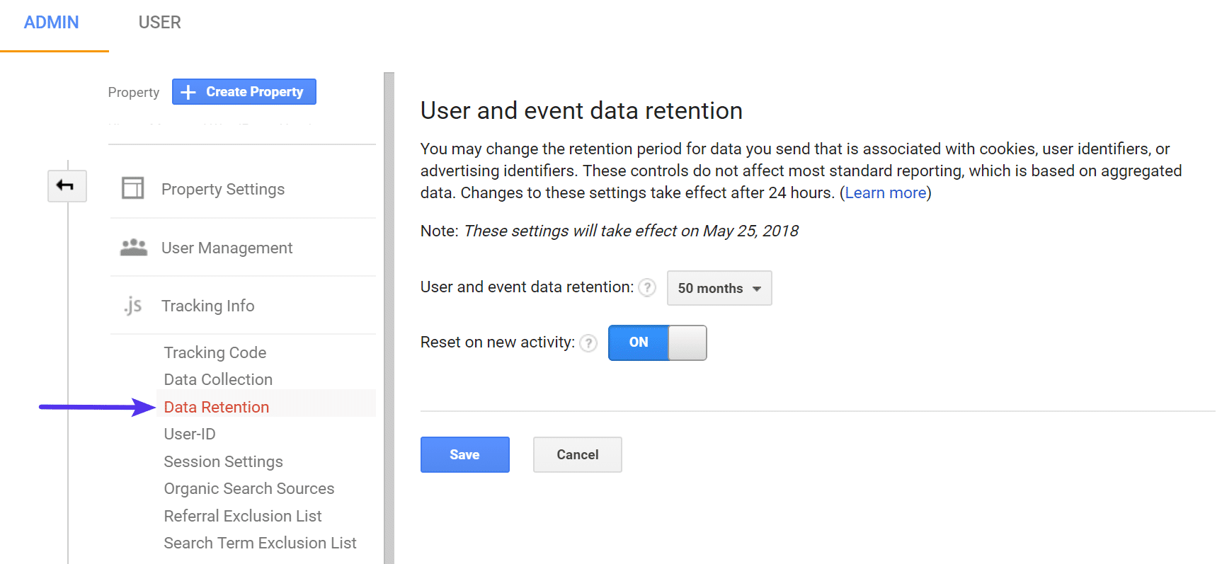 Google Analytics data retention