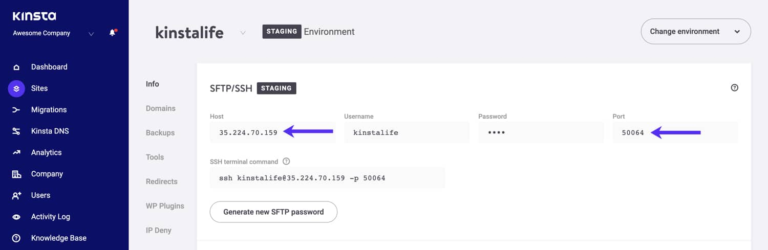 SFTP host and port details for your staging environment.