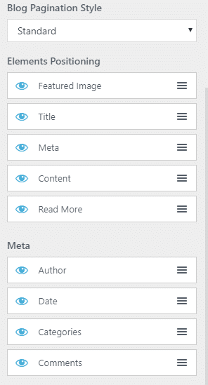 Blog layout Customizer settings