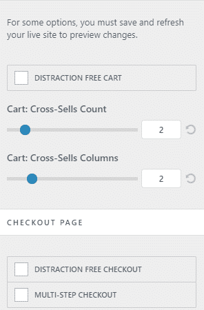 Detailed cart/checkout settings