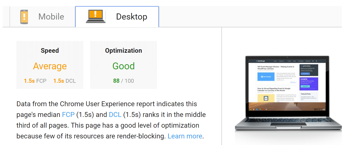 PageSpeed Insights después de WP Rocket