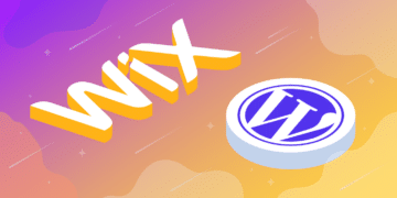 Illustration for Wix to WordPress migration showing 3D logos of Wix and WordPress on a gradient background.