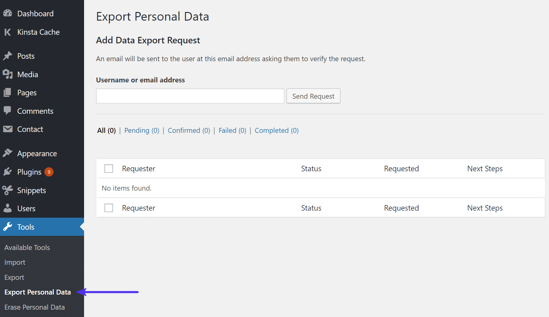 WordPress export personal data