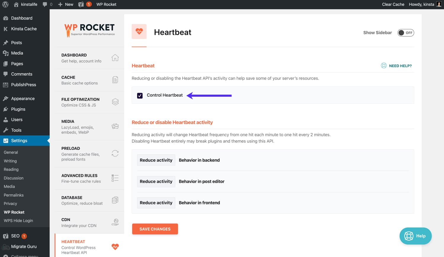 Change WordPress heartbeat settings in WP Rocket.