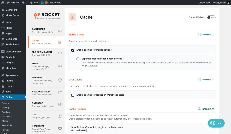 Configuración del caché de la página de WP Rocket.