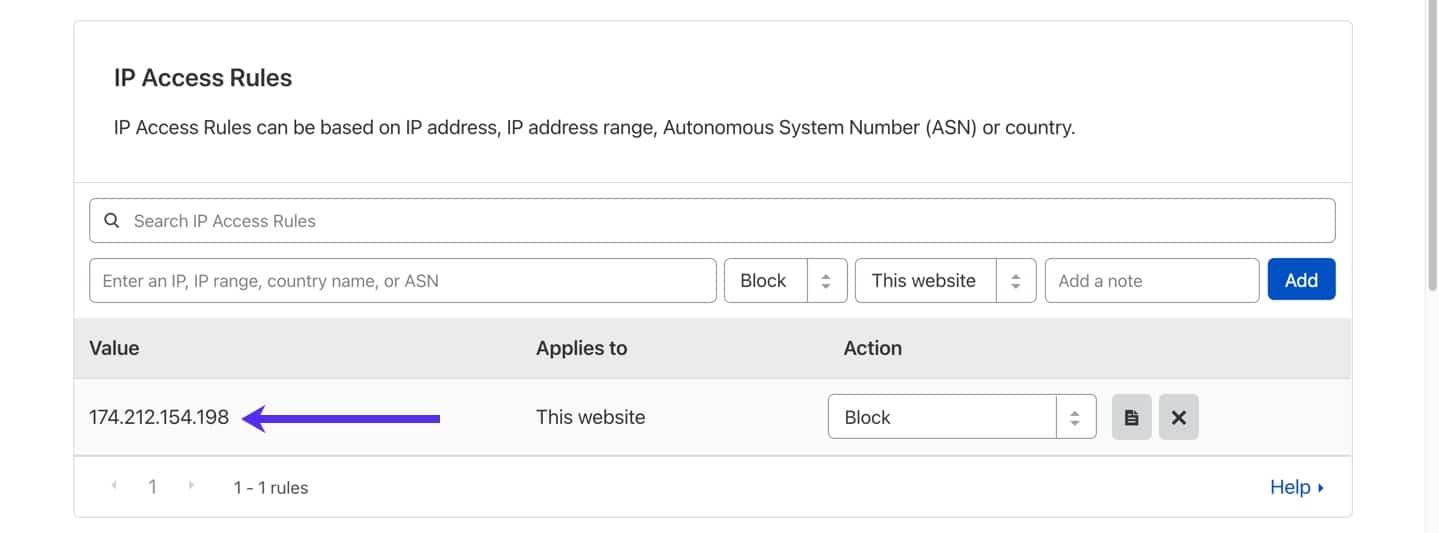 Regole di accesso IP nella dashboard di Cloudflare