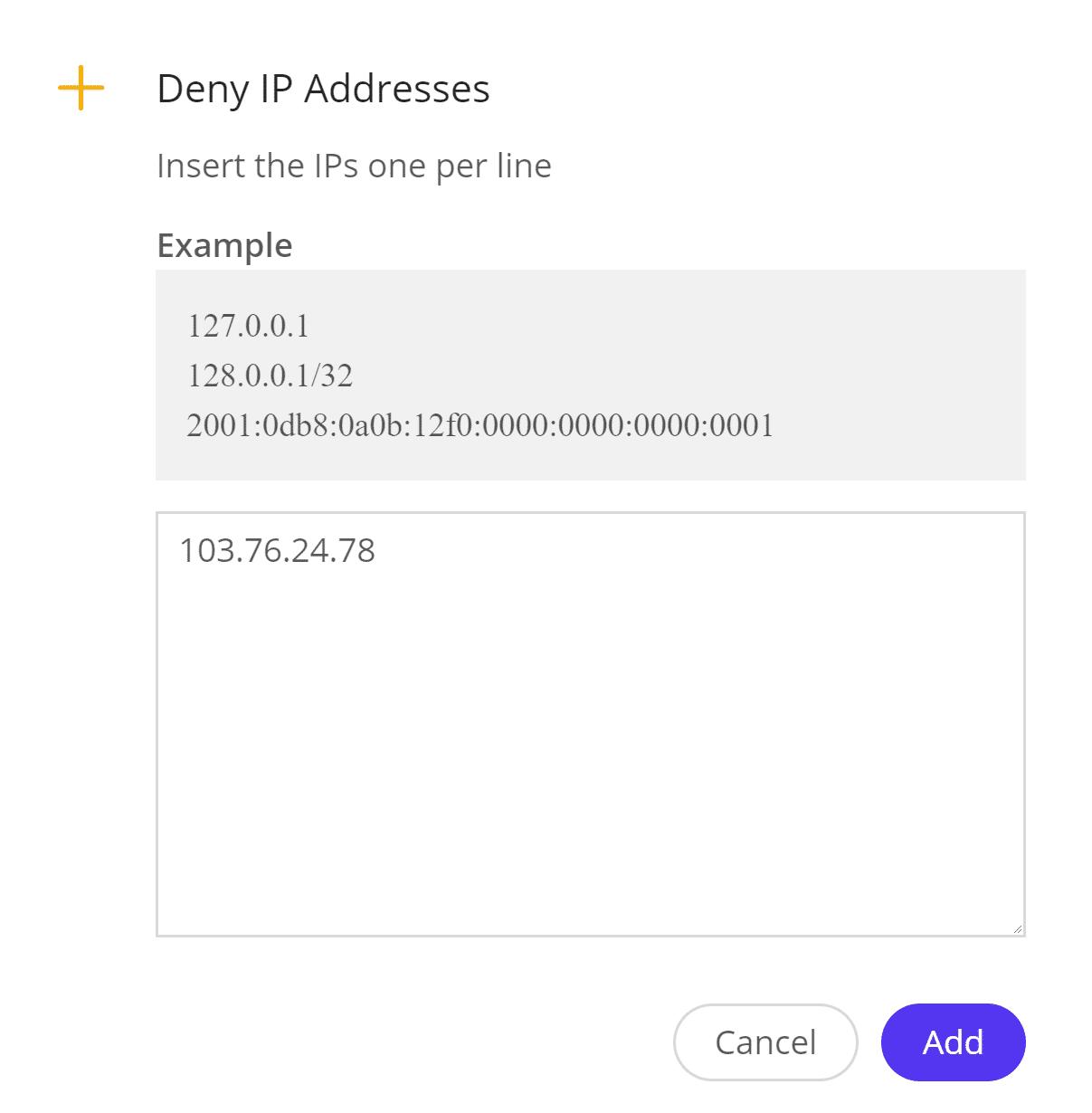 Denegar direcciones IP