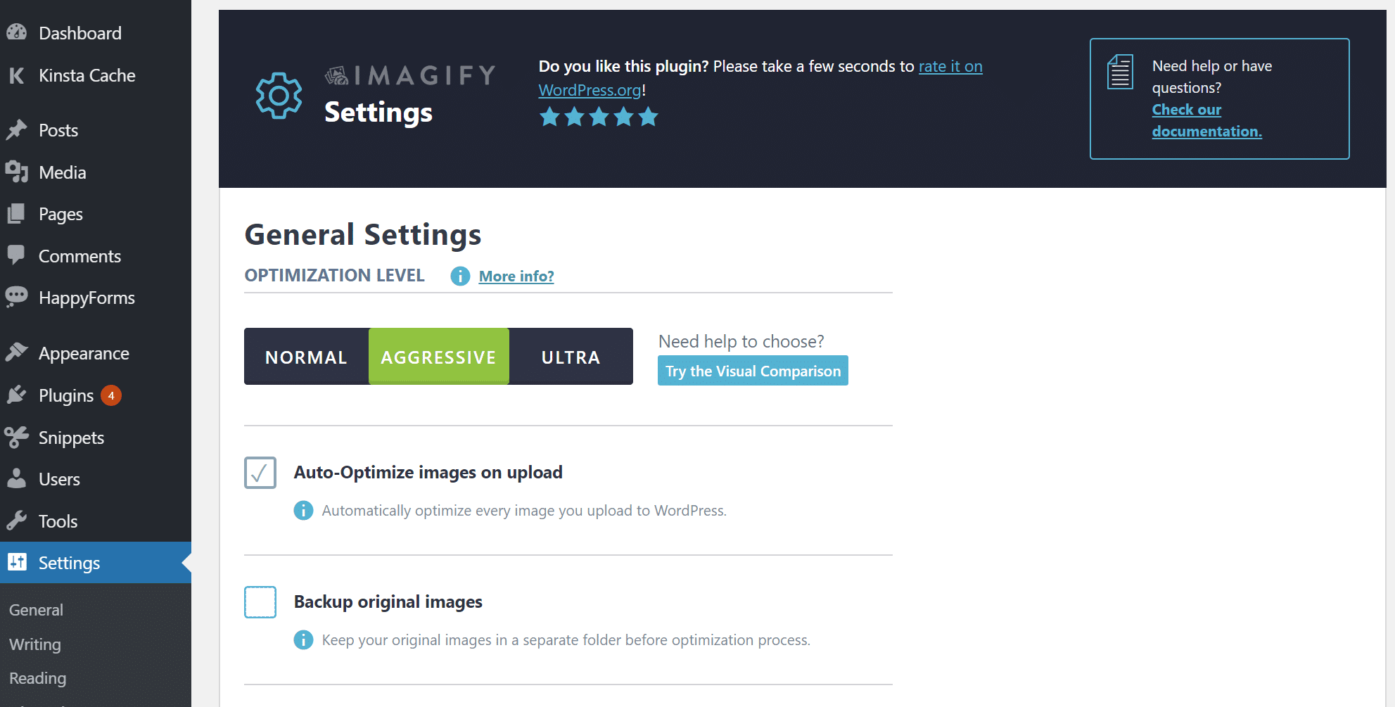 Imagify settings