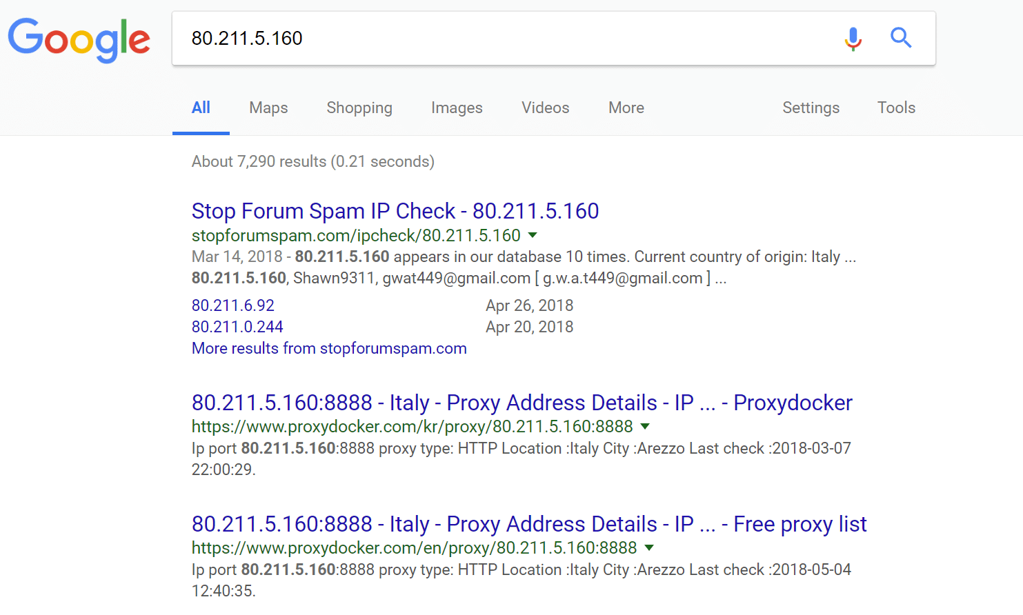 Proxy IP addresses