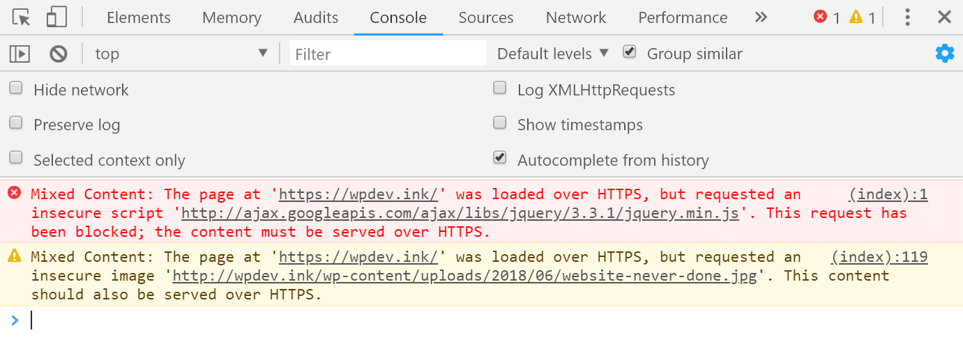 Chrome DevTools mixed content in console