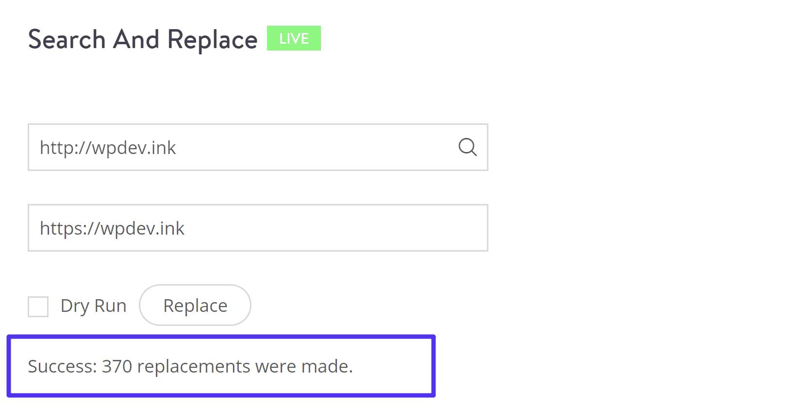 Confirmation on live search and replace