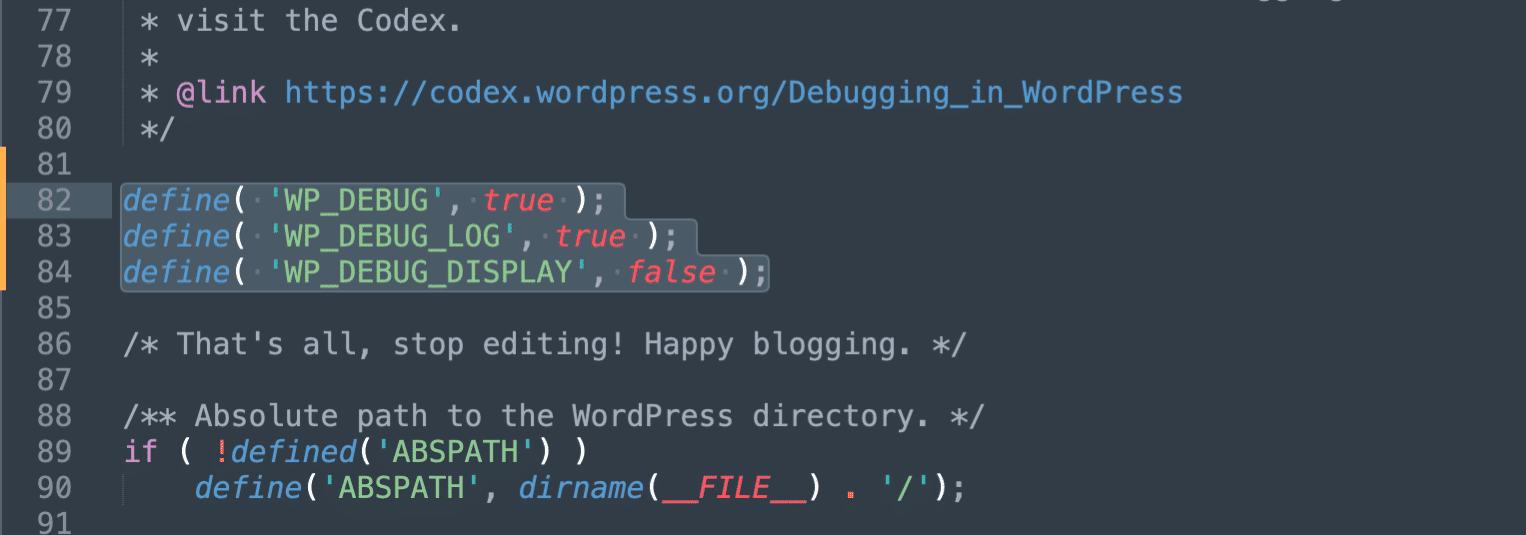 Enable debug logging in WordPress