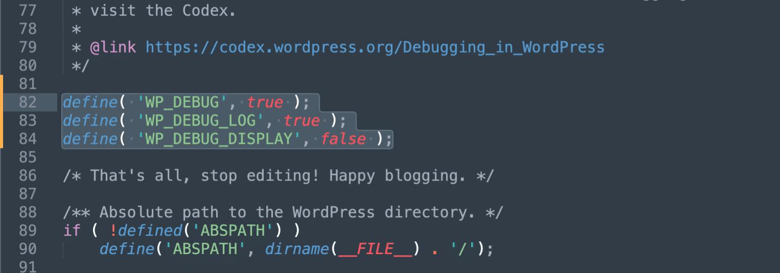 Enable debug logging in WordPress