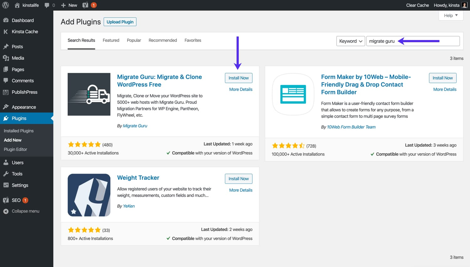 Once you've located Migrate Guru go ahead and install the plugin.