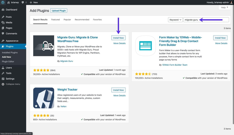 Install Migrate Guru from the WordPress repository.