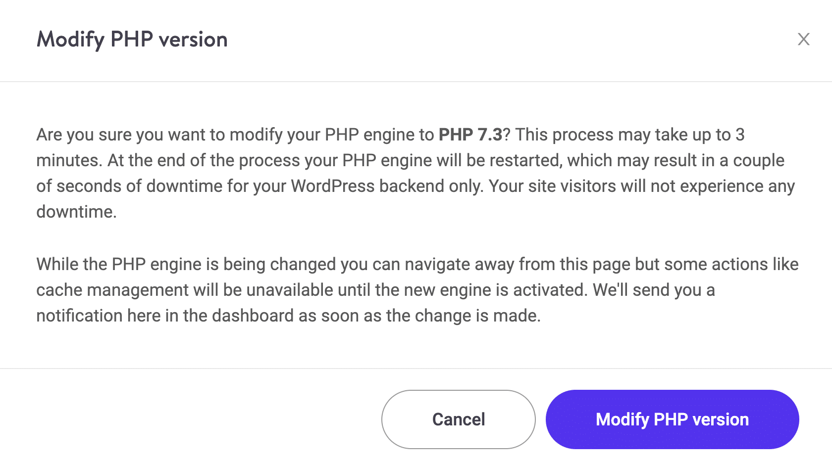 Modify PHP version confirmation