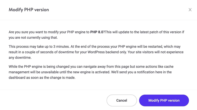 PHP-version skifte modifikation.