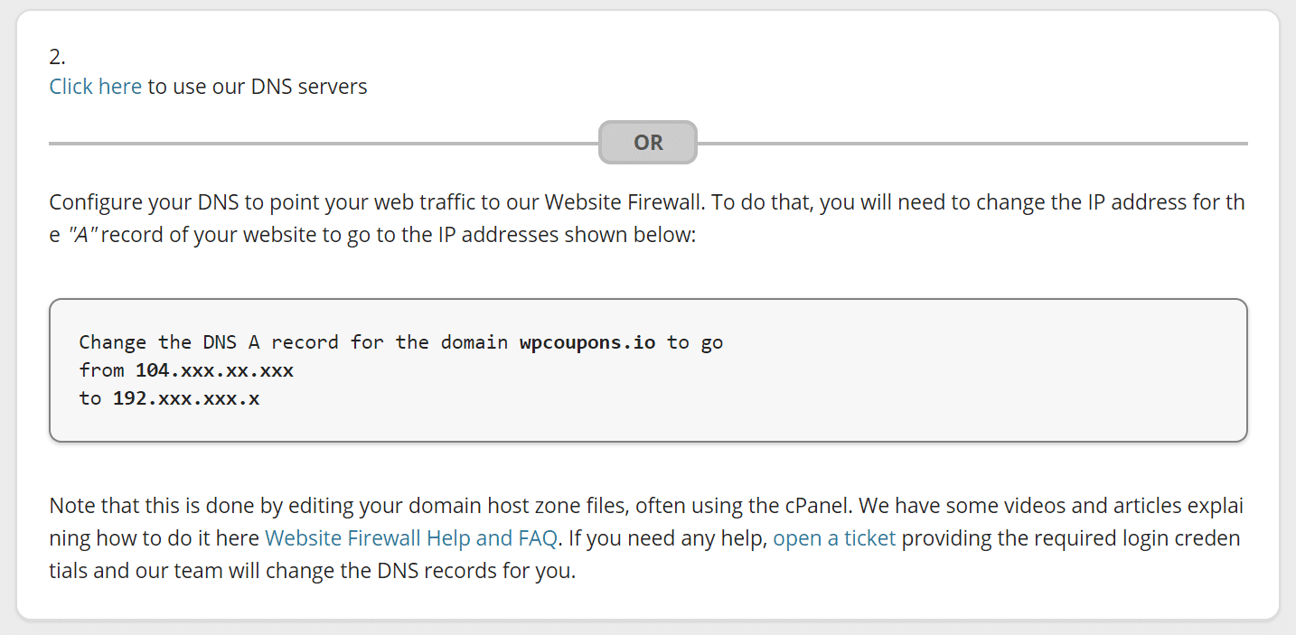 Point A record to firewall