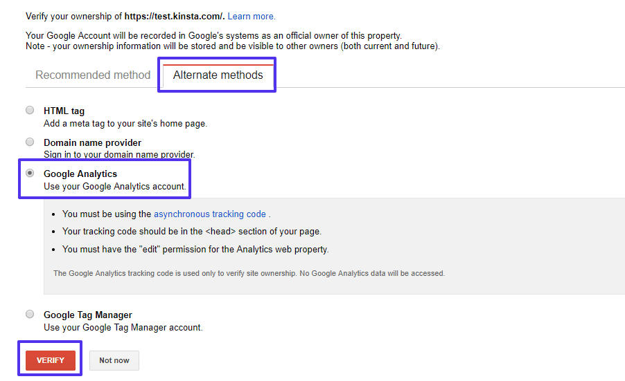 Google site verification with Google Analytics