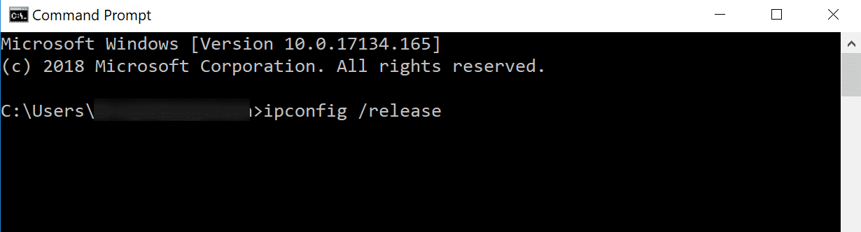 command prompt containing ipconfig /release