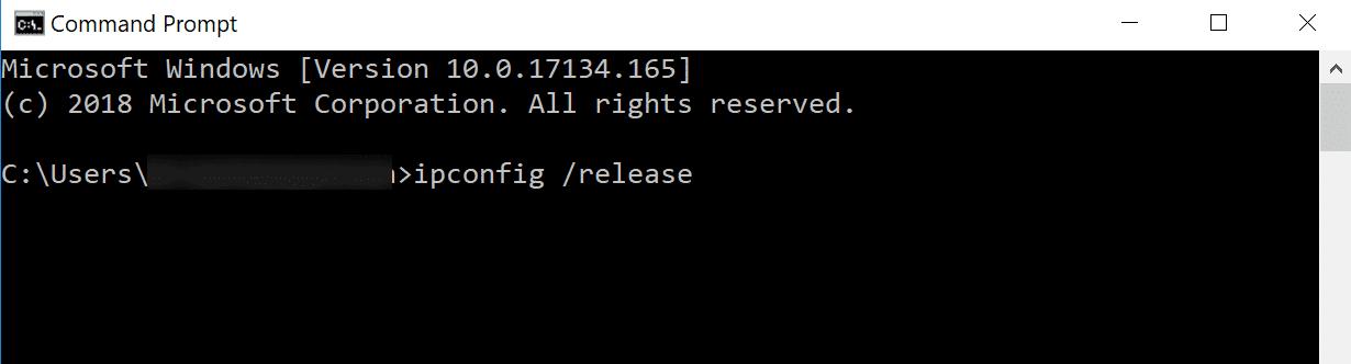 ipconfig /release