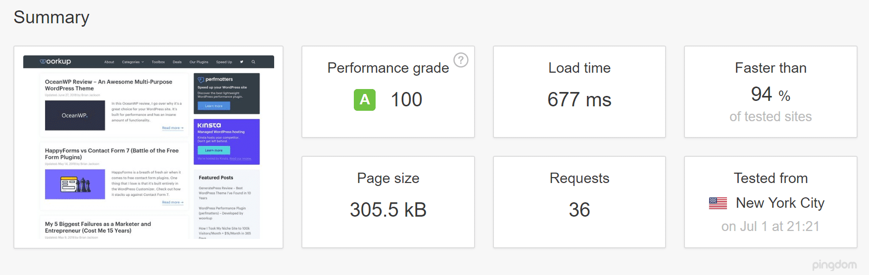 No WordPress caching (speed test)