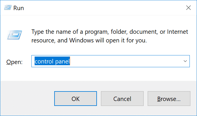 Run Control Panel Windows