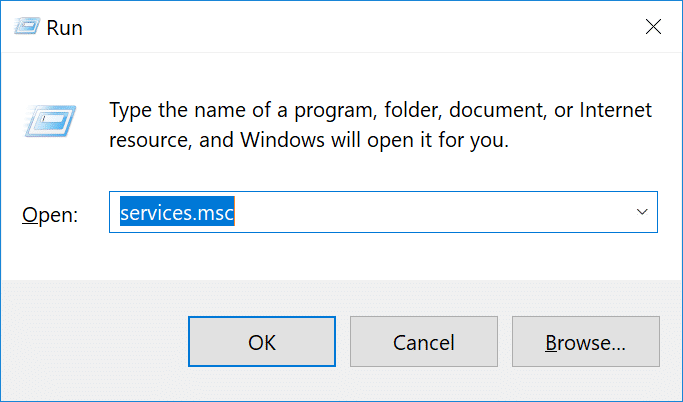 Command prompt containing services.msc