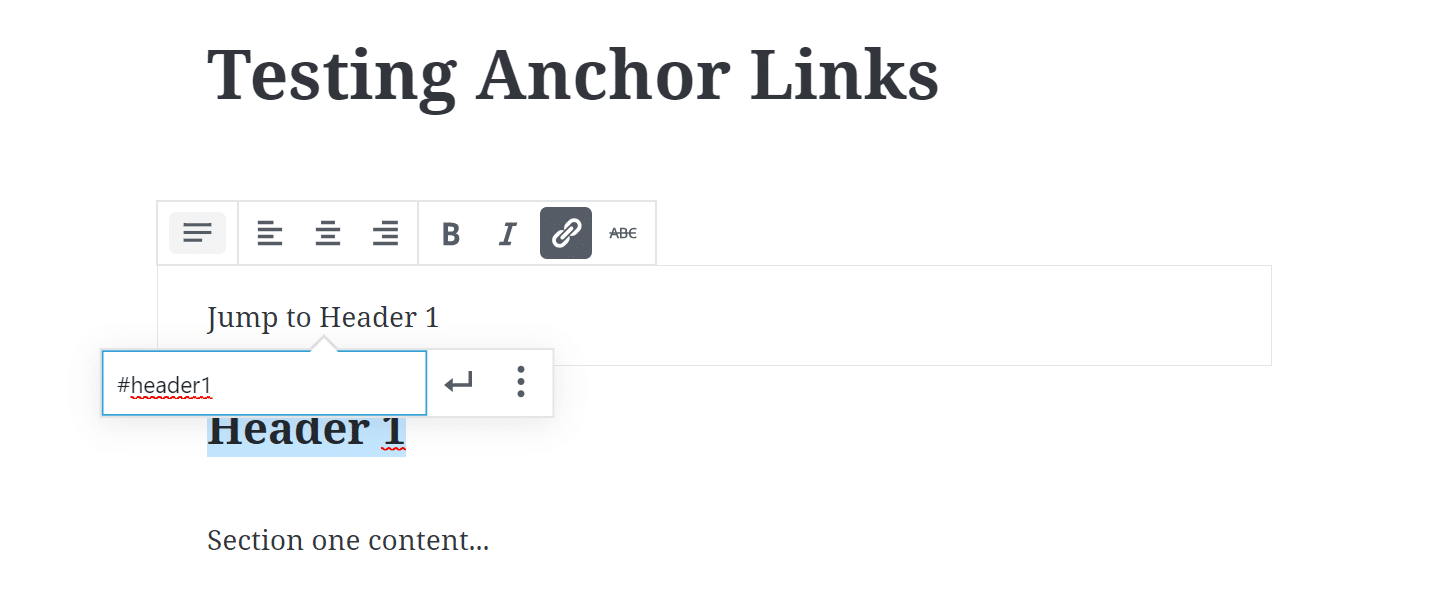 Add anchor link in Gutenberg