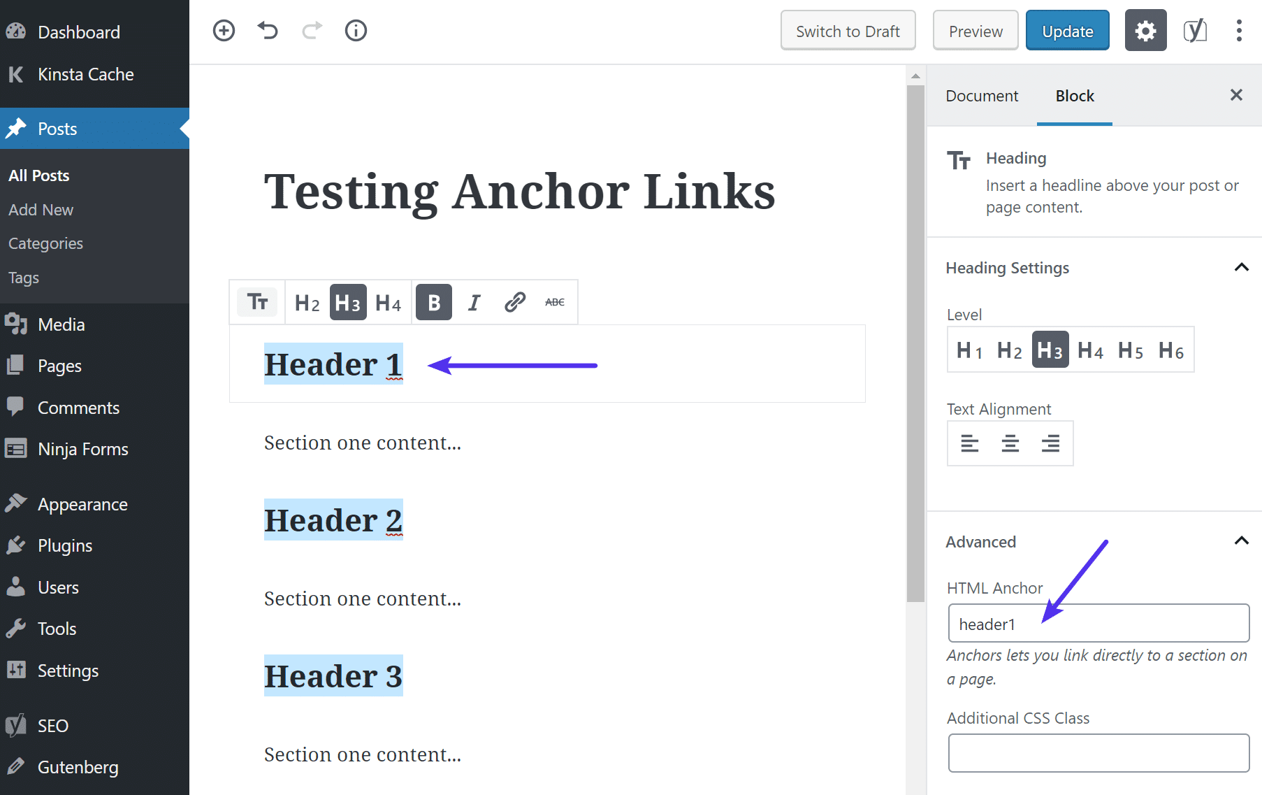 Add HTML anchor in Gutenberg editor