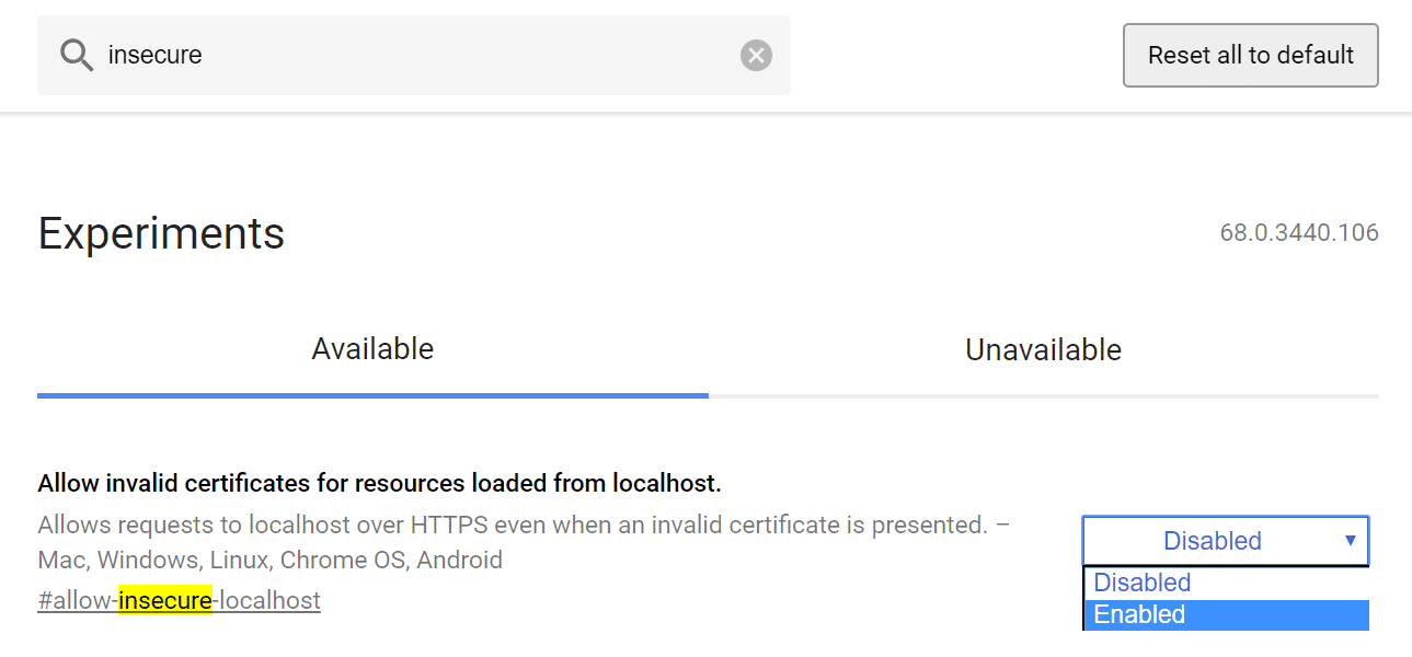 Allow insecure connections on localhost in Chrome