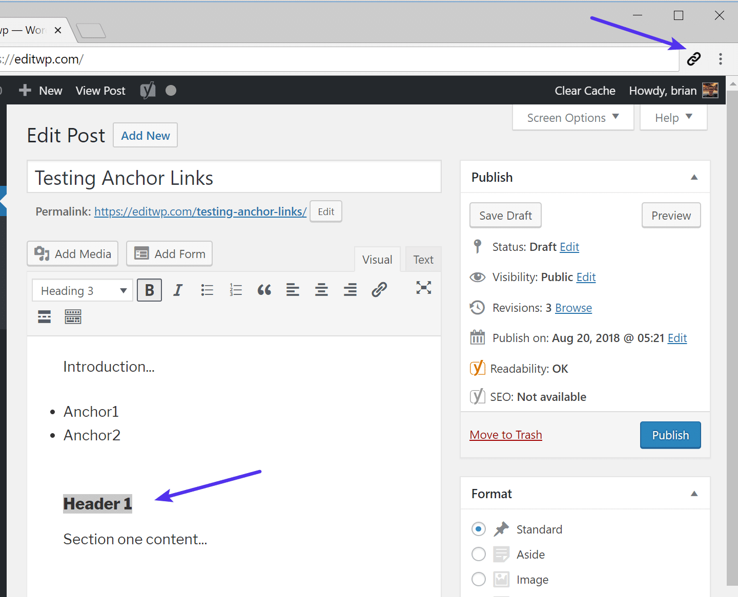 Chrome extension add anchor link