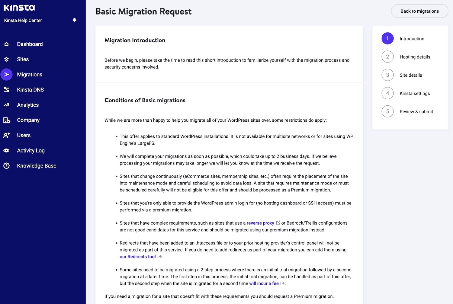 Condition and other into to start the migration process