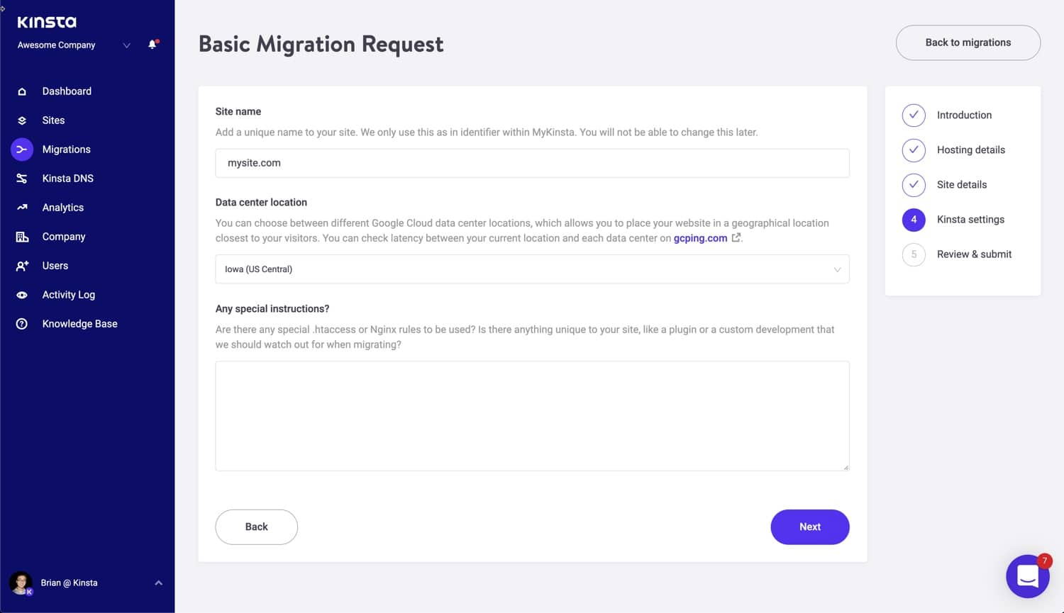 Kinsta site settings.