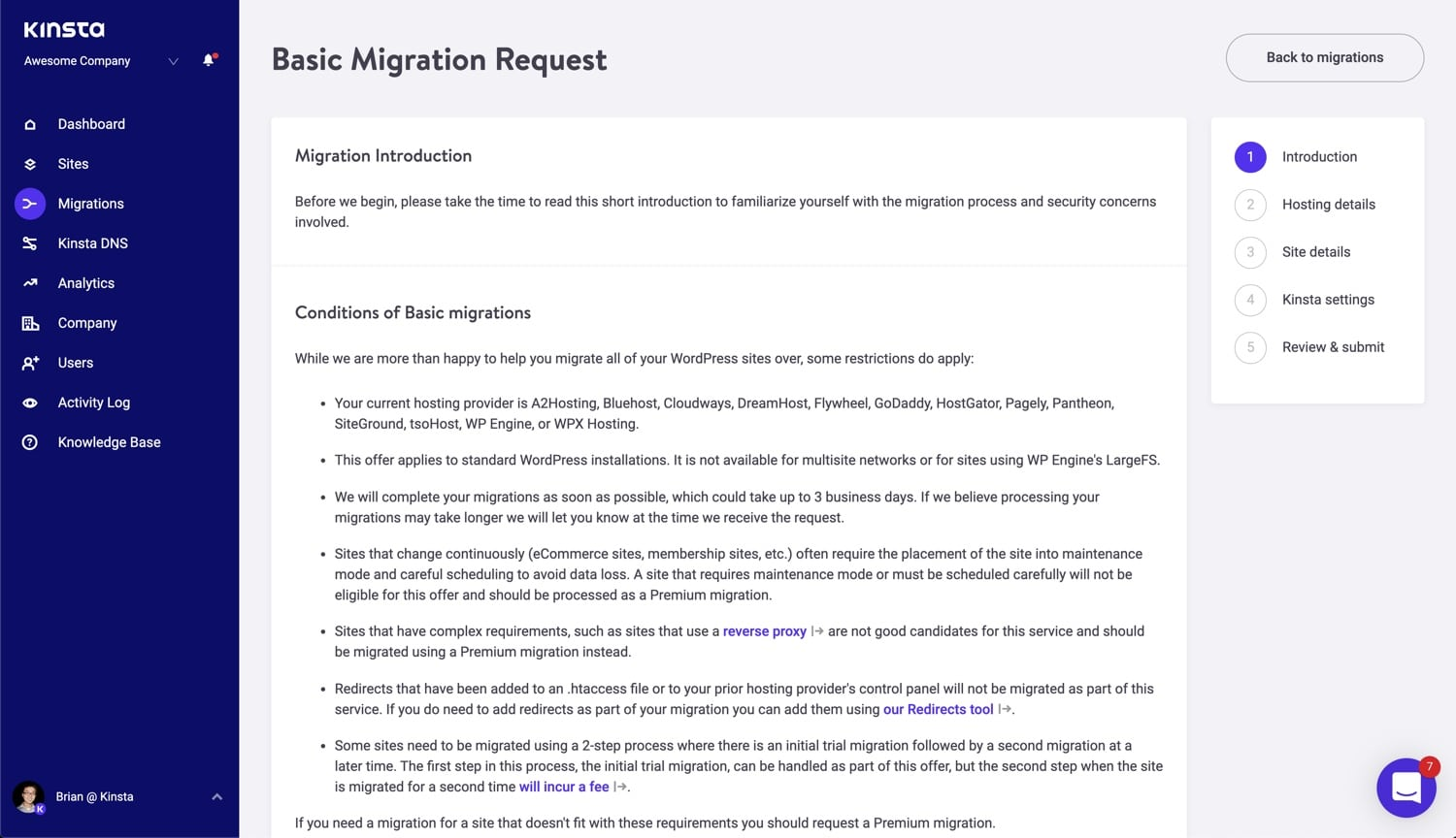Introduction à la migration basique de Kinsta.