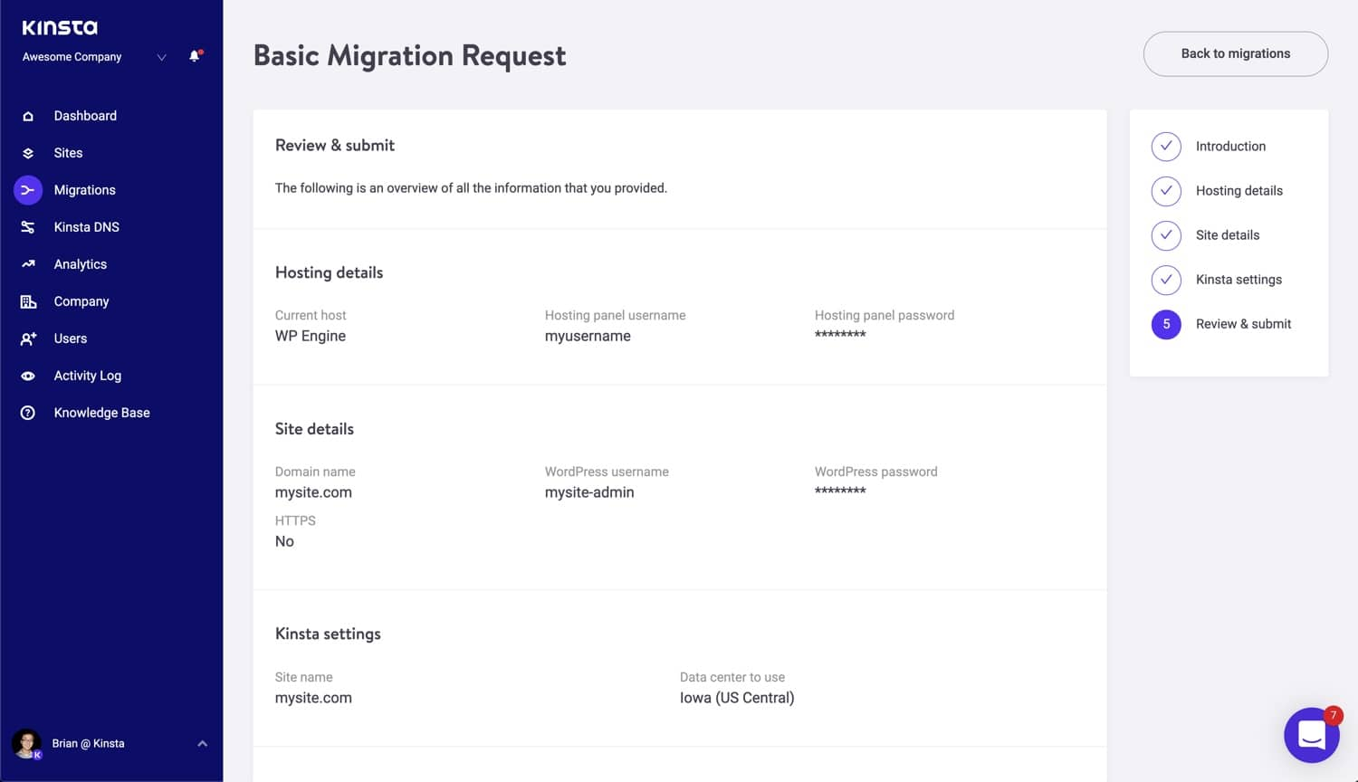 Review and submit your basic migration.