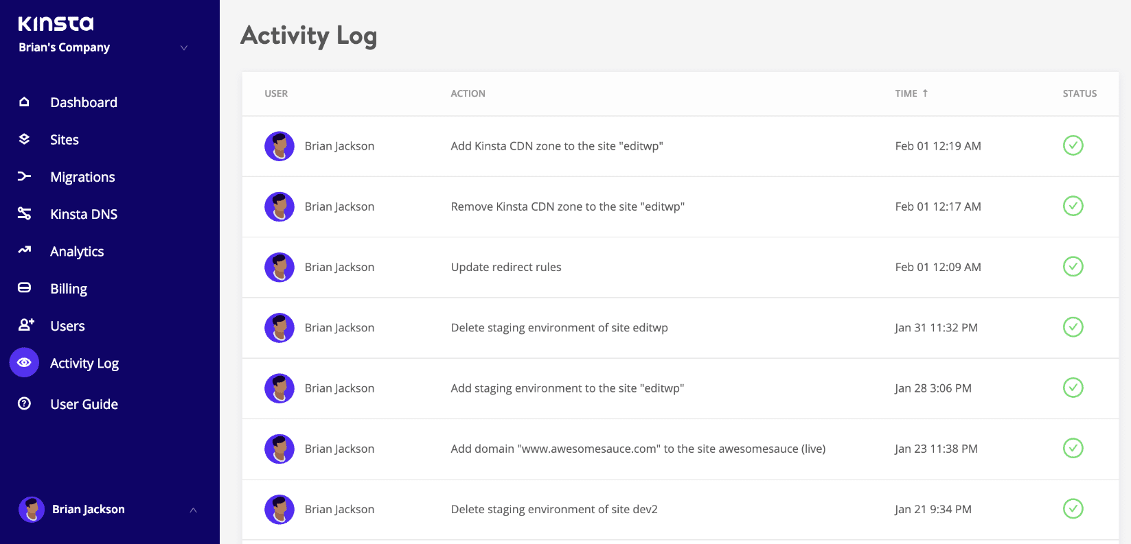 MyKinsta activity log