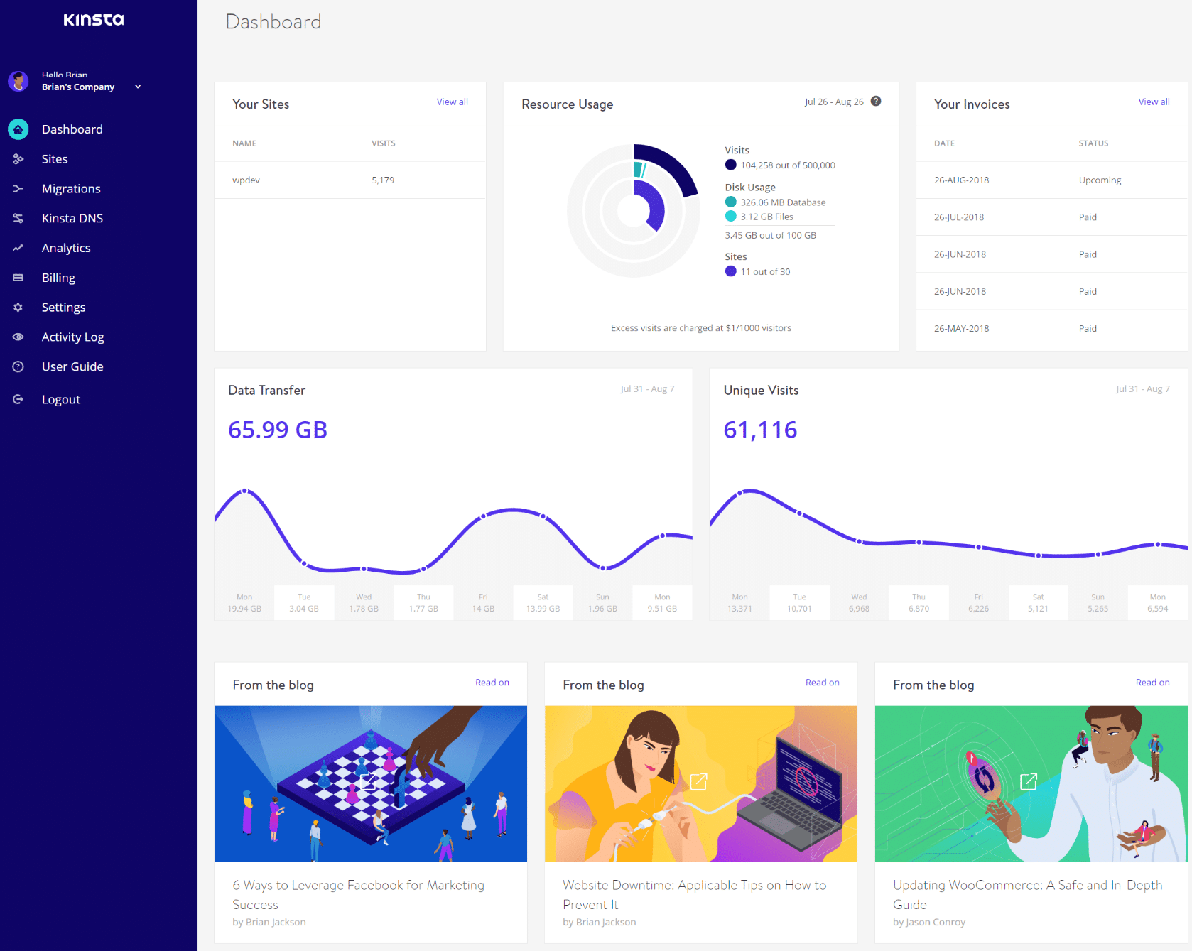 MyKinsta main dashboard