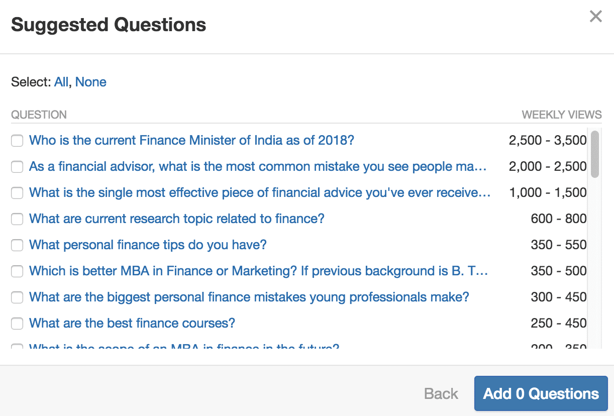 Quora suggested questions